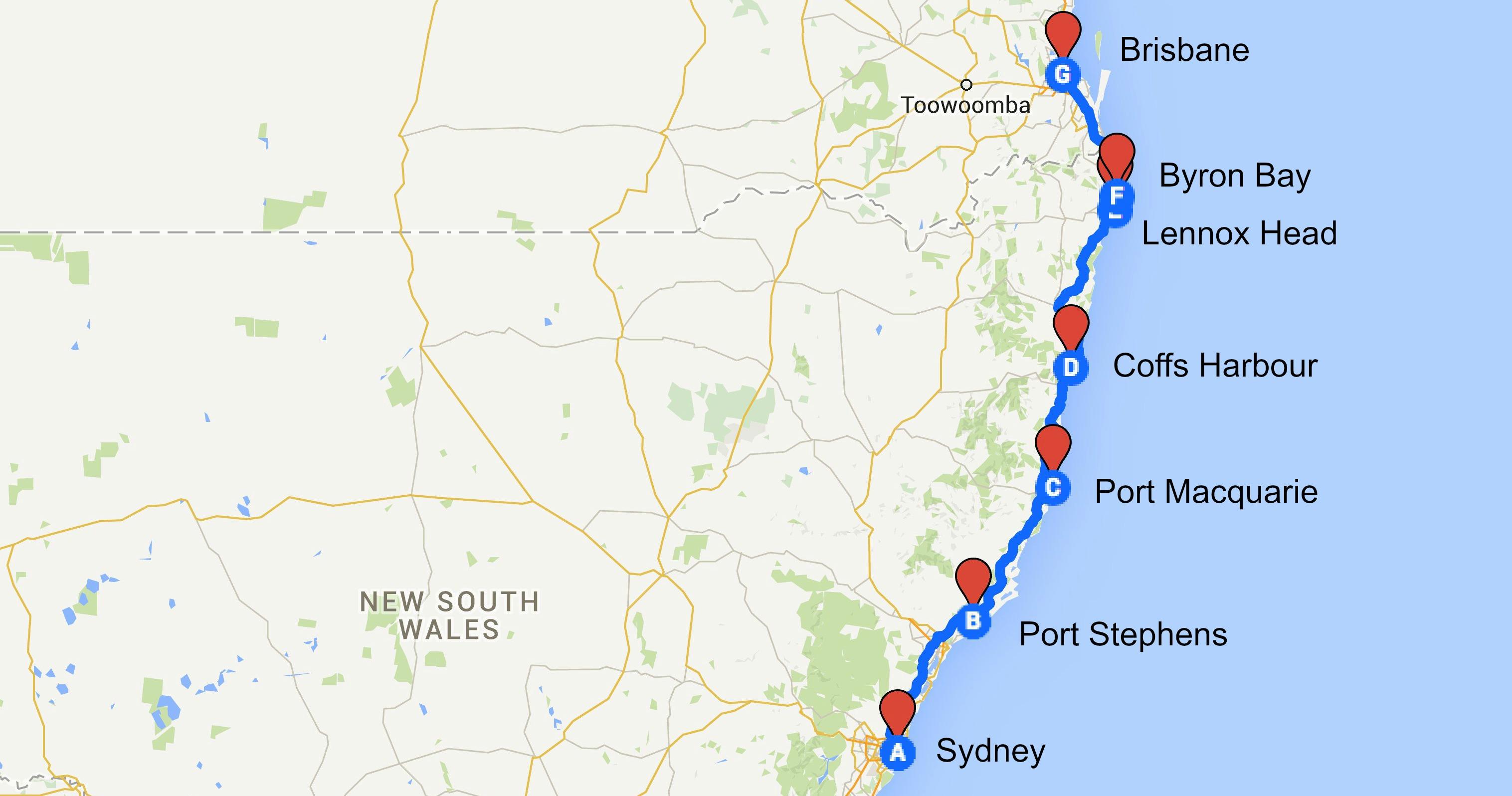 Sydney Byron Bay Brisbane Road trip Travellers Autobarn